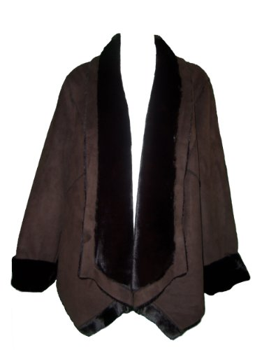 Michael Kors Faux Fur Drape Shearling Warm Coat Chocolate Brown Size Large