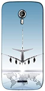 Snoogg aircraft landing on the earth Designer Protective Back Case Cover For Micromax A117