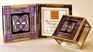Decorative Hand Painted Glass Picture Frame in a Scottish Tartan Knot Design.