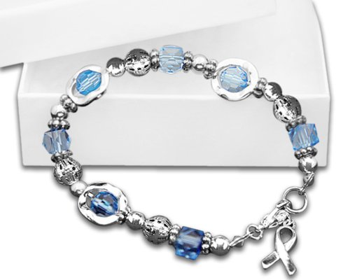 Blue Bead Silver Ribbon Circles Bracelets (Wholesale Pack - 18 Bracelets)