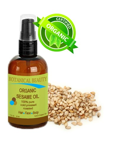 Botanical Beauty Organic Sesame Oil, 100% Pure, Cold Pressed. For Face, Hair And Body. 1 Oz-30 Ml