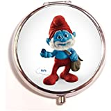 The Smurfs Round Fashion Pill Box Medicine Tablet Holder Organizer Case For Pocket Or Purse - B01G6NDW40