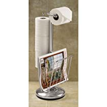 Toilet Caddy Better Living Products Chrome Tissue Dispenser with Magazine Rack
