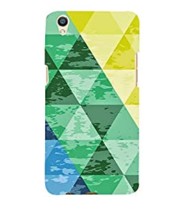 PrintVisa Triangles Pattern 3D Hard Polycarbonate Designer Back Case Cover for Oppo F1 Plus