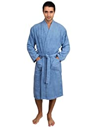 TowelSelections Turkish Cotton Bathrobe Terry Kimono Robe for Men Large/X-Large Blue