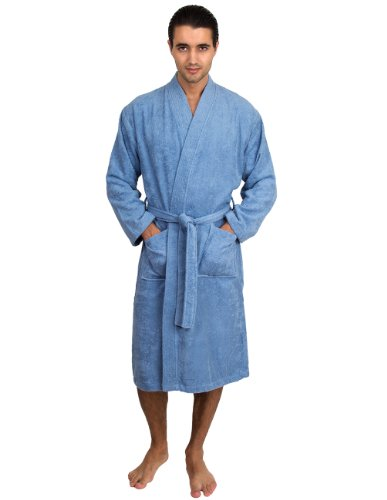 towelselections turkish cotton bathrobe terry kimono robe for men large x large blue apparel. Black Bedroom Furniture Sets. Home Design Ideas