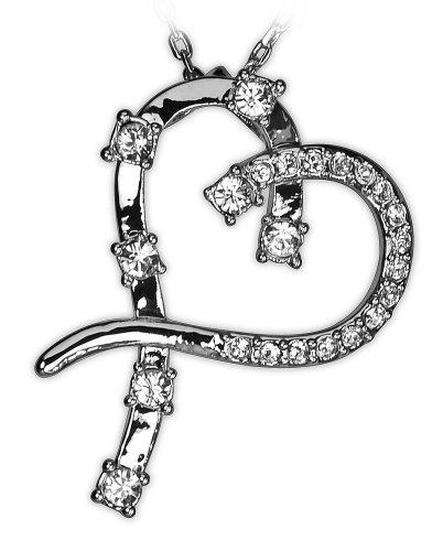 Swarovski Element Clear Crystal Heart Shape Chain Pendant Necklace