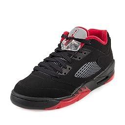 Nike Jordan Kids Jordan 5 Retro Low (GS) Black/Gym Red/Black/Mtlc Hmtt Basketball Shoe 6.5 Kids US