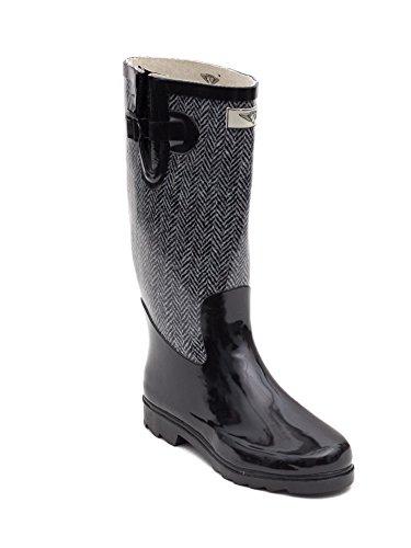 Women's Mid-Calf Rubber Rain & Snow Boots * Black & Grey Chevron Jacket Design * Great for Gardening & Hiking