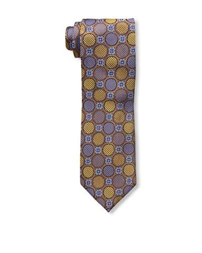 Bruno Piatelli Men's Printed Silk Tie, Brown/Gold/Blue