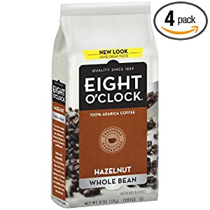 Eight O'Clock Coffee, Hazelnut Whole Bean, 11-Ounce Bags (Pack of 4)