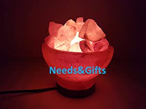 Himalayan Salt Fire Basket with Himalayan Salt Chunks IONES Therapeutic 100% Pure Himalayan Crystal Salt Lamp Fine Quality on Wooden Base by Gill Global & Co.