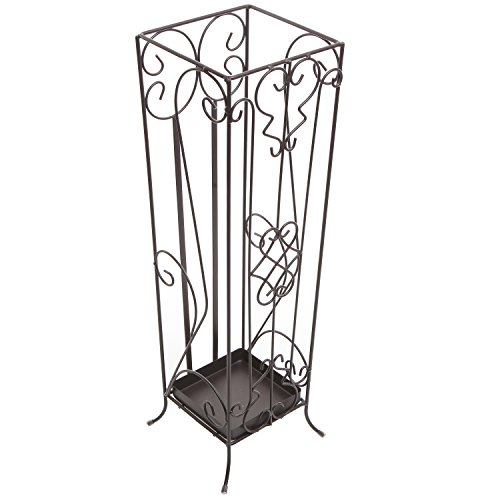 MyGift® Brown Metal Scrollwork Design Entryway Umbrella Holder & Drying Rack Stand / Walking Cane Storage