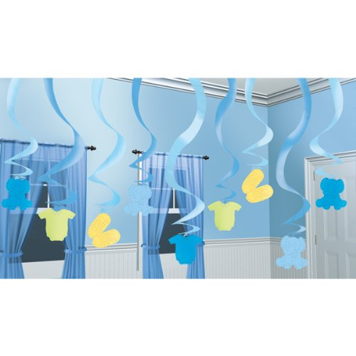 Amscan International Baby Boy Hanging Swirl Decorations, Pack of 15 - 1