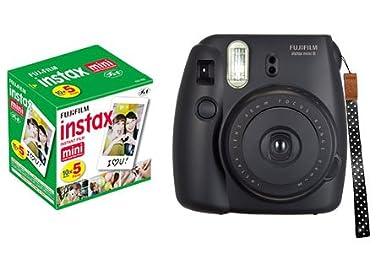 FUJIFILM インスタントカメラ チェキ INS MINI 8ブラック純正ハンドストラップ&【チェキフィルム5本パック】付き