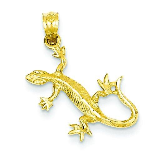 14K Yellow Gold Gecko Lizard Charm Reptile Pendant