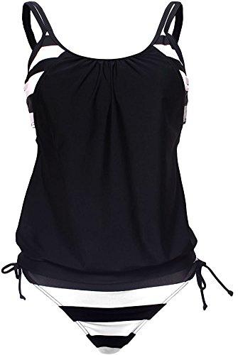 Women Sexy Stripe Lined Double Up Tankini Top with Bottom Two Piece Set Swimwear