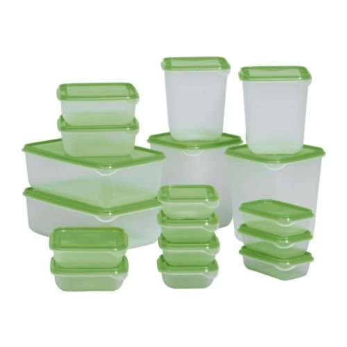 Ikea Pruta 601.496.73 BPA-Free Food Container, Green, Set of 17