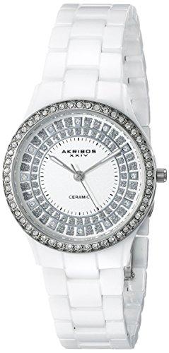 Akribos XXIV Women's AK509WT Slim Ceramic Quartz Watch