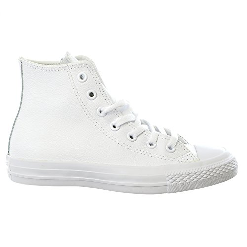 Converse Mens Unisex Chuck Taylor All Star Leather Hi Fashion Sneaker Shoe, White Monochrome, 9.5