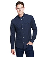 Autograph Pure Cotton Button-Down Collar Spotted Shirt
