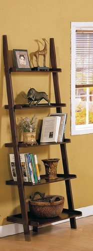 Wall Corner Shelf with Storage Shelves - Cherry Brown Finish