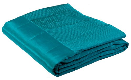 Scatterbox Squares Faux Silk Throw Azure
