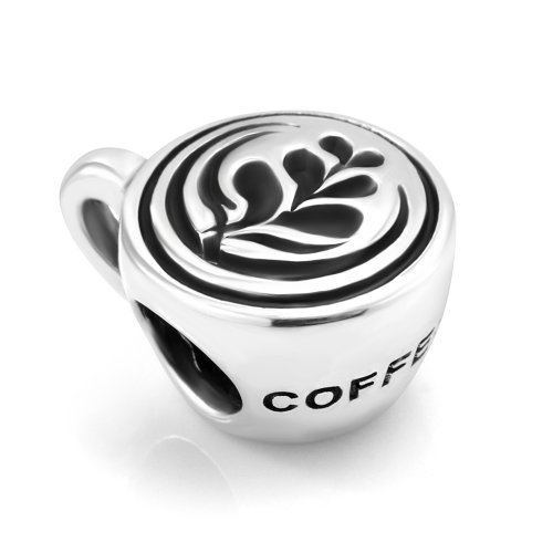 925 Sterling Silver Nice Coffee Cup with Rosetta (Heart Leaf) Latte art on Top Bead Charm