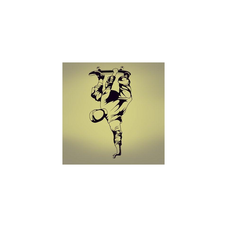 Vinyl Wall Art Decal Sticker Skater Upside Down Extreme Sport Skateboard 20 Wide x 43 Tall #337