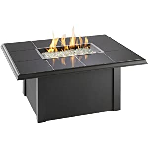 Outdoor Greatroom Napa Valley Gas Fire Pit Coffee Table With Black Metal Base Patio