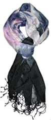 LibbySue-Color-Blocked Tie-Dye Print Scarf in Multi-Colors