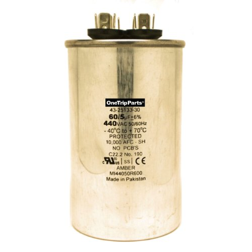 CAPACITOR 60+5 MFD 440 VAC ROUND DIRECT REPLACEMENT FOR YORK COLEMAN EVCON LUXAIRE OEM PART S1-02425033700