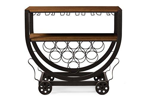 Baxton Studio Triesta Antiqued Vintage Industrial Metal & Wood Wheeled Wine Rack Cart 0