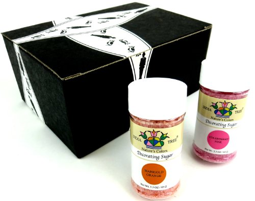 India Tree Nature'S Colors Decorating Sugars 2-Color Variety: One 3.3 Oz Bottle Each Of Strawberry Pink And Marigold Orange Decorating Sugar In A Gift Box front-154168