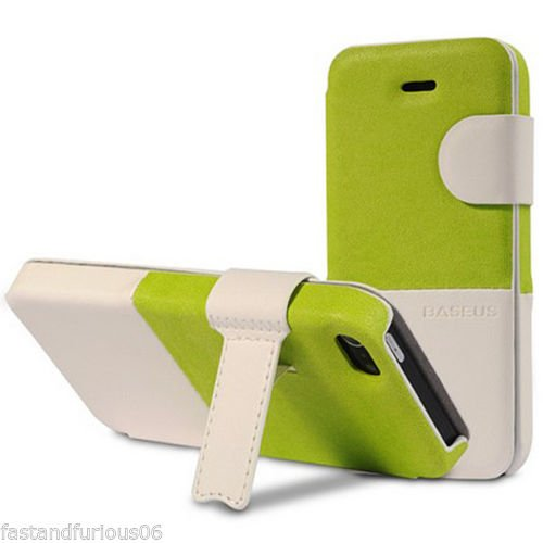 Pioneer Tech®Lively Pu Leather Colorful Cases For Iphone 5 /5S Flip Folio Case Stand Holder (Green/White)