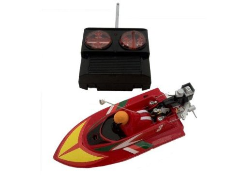 Micro Remote Control RC Speedboat 1:64 Scale Red 27Mhz