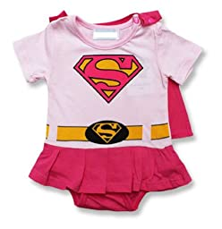 Spiderman Superman Batman Supergirl Baby Toddler All in 1 Fancy Dress Outfit Romper Suits with Cape (95 (18-24month), Supergirl)