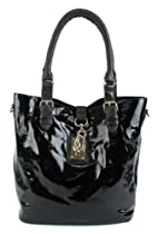 Hot Sale Scarleton Large Patent Faux Leather Tote H104501 - Black