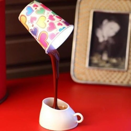 Estone Novelty DIY LED Table Lamp Home Romantic Pour Coffee Usb Battery Night Light