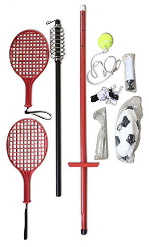 Multi Use Tether Swingball Tennis and Soccer Ball Set For Adults Kids and Pets (Height Adjustable) Pump and Ground Stakes Included (Portable Tetherball compare prices)