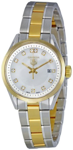 TAG HEUER CARRERA WV1450.BD0797 LADIES STEEL BRACELET 18K GOLD CASE DATE WATCH