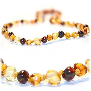 *The Art of CureTM *SAFETY KNOTTED* - Mixed Colors - (Unisex) - Certified Baltic Amber Baby Teething Necklace Highest Quality Guaranteed- Anti Flammatory, Drooling & Teething Pain. Easy to Fastens with a Twist-in Screw Clasp Mothers Approved Remedies!