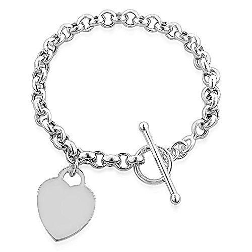NYKKOLA-Braccialetto classico donna placcato argento Sterling 925pendenti a forma di cuore bracciale a catena