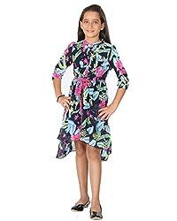 Peppermint Girls' A-Line Dress (L-AC-DRS-2152-3797-Indigo-28_Indigo_6 - 7 Years)