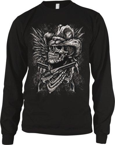Outlaw Cowboy Skull With Pistols Mens Thermal Shirt, Skull Guns And Bandana Thermal, Large, Black