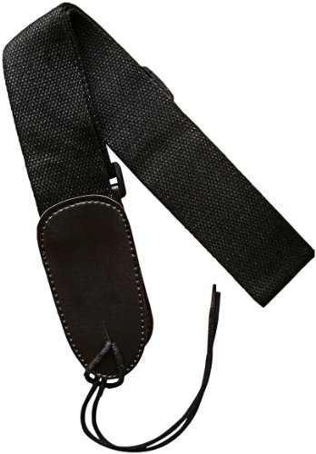 """Cotton Guitar Strap, Classic Black; Strong, Soft, Non-Slip Weave (Not Cheap Nylon) For Acoustic And Electric; Fits Most Sizes, 2"""" Wide, Adjusts To 56""""; Play Standing Up And Improve Performance; Extended Leather Ends; No Logo; 100% Guaranteed!"""
