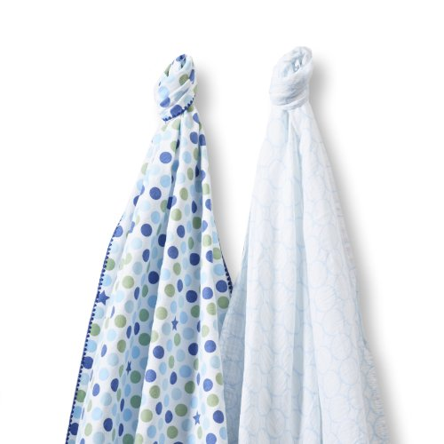 SwaddleDesigns SwaddleDuo, Dots and Stars Duo (Set of 2 in Navy)