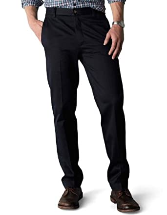 Dockers Men's Signature Khaki D1 Slim Fit Flat Front Pant, Navy, 28X28