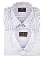 2 Pack Easy Care Slim Fit Assorted Shirts