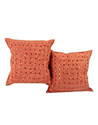 Living Room Accessories Rust Set of 2 Handmade Cushion Cover 16 by 16 Striped Lace Work Pillow Covers Vintage Cotton Throw Pillow By Rajrang